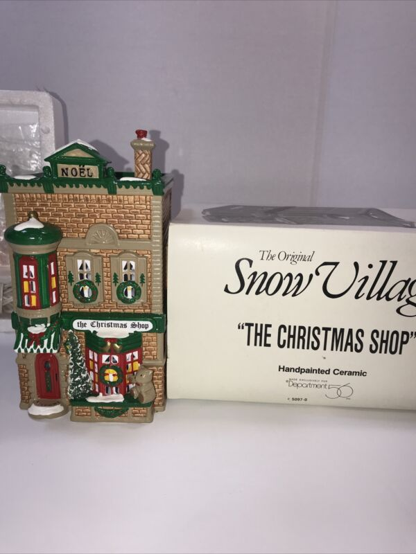 "DEPT 56 1991 SNOW VILLAGE ""THE CHRISTMAS SHOP"" W/ Box"