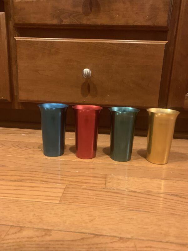 "4 vtg Aluminum Tumblers Drinking Glasses Jewel Tone Beverage Set 5""  RETRO"