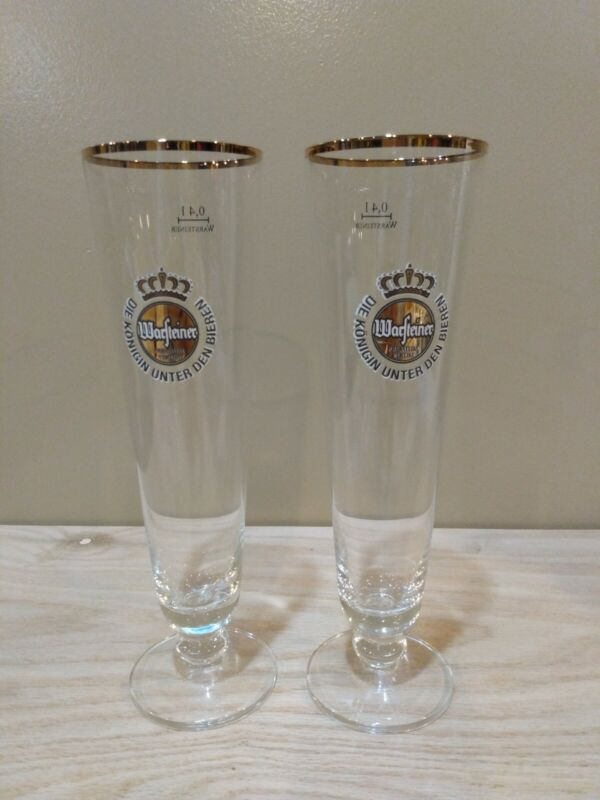 Set Of 2 Warsteiner .4 L Tall Beer/Pilsner Glass Gold Trim