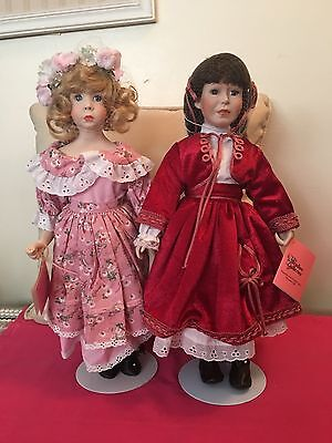 """2 Paradise Galleries Porcelain Dolls With Tags  16"""""""