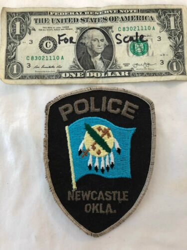 Rare Vintage Old Newcastle Oklahoma Police Patch pre-sewn Patches