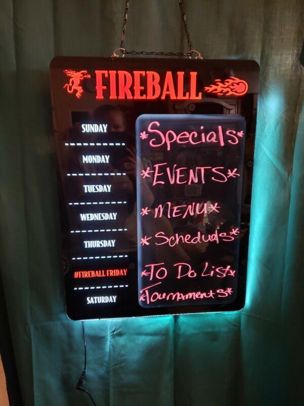 "NEW 20"" Fireball Whiskey promotional LED hanging  menu board Display wall Sign"