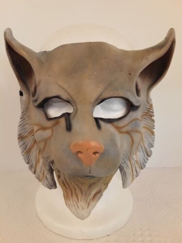 Rare Vtg Imagineering Inc CAT MASK Articulated Latex Rubber 1987 Collegeville