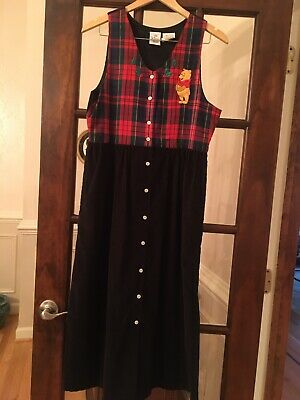 Disney Winnie the Pooh Holiday Jumper Dress Corduroy Plaid Vest Women Med