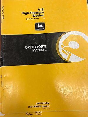 John Deere Operators Manual A18 High Pressure Washer Omty20551 Used