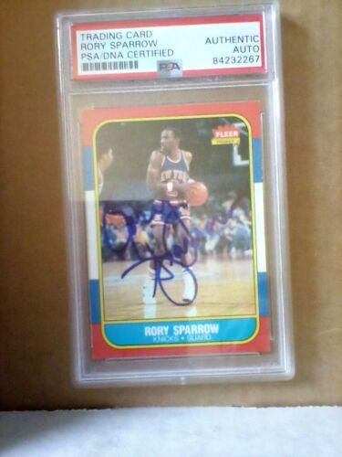 Rory Sparrow Knicks 1986 Fleer Signed Auto PSA/DNA ENCAPSULATED
