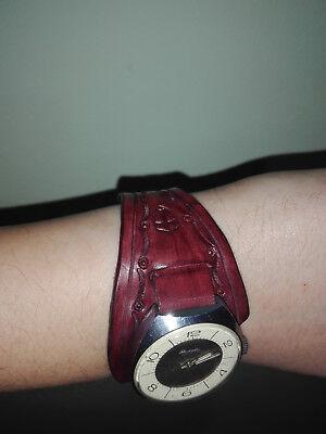 "Watchband ""Wristbands"" genuine leather embossing 18 mm handmade ремешок на часы"