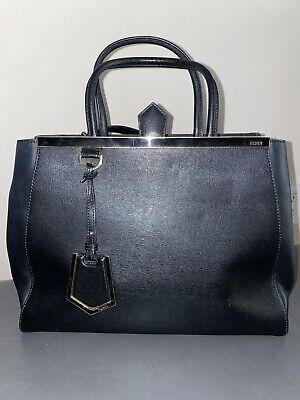 Auth Fendi Elite 2Jours Medium leather Tote Black