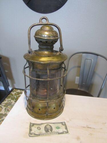 Antique Nautical Lantern Old Brass Vintage Original Patina Ship Light
