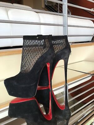 Christian Louboutin Alti Botty Black Suede Ankle Boots Platform Sz 38 Mint