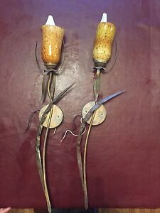 Two funky wall sconces. $75 for pair.
