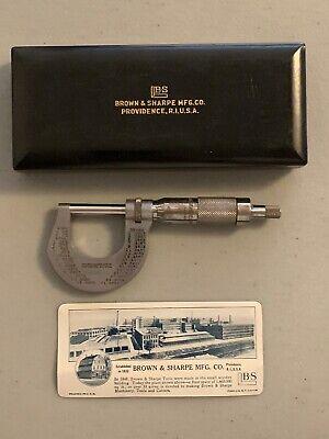 Vintage Brown Sharpe Micrometer 0 - 1 Micrometer 13 Original Case