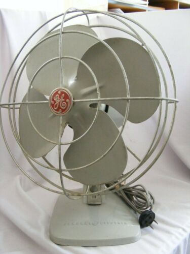 """Vintage General Electric Metal Table/ Wall Fan 12"""" Oscillating Gray RUNS GREAT"""