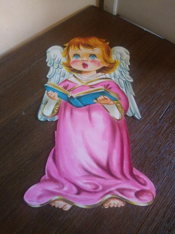 Vintage  Christmas Decoration Angel Girl Choir Pink Die Cut Cardboard