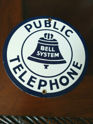 Public Telephone Bell System  - Porcelain Round Sign