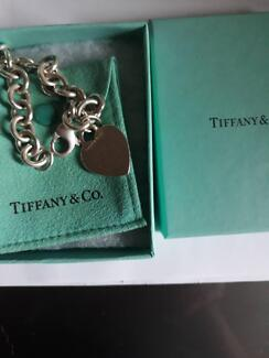 Tiffany & Co  - Plain Heart Tag Charm Sterling Silver Bracelet