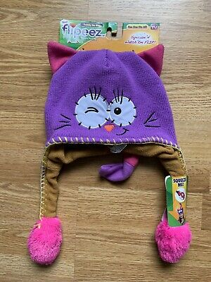 Girl FLIPEEZ LAVENDER AND PINK CAT KITTY W/ EARS & TAIL WINTER HAT (Pink Cat Ears And Tail)