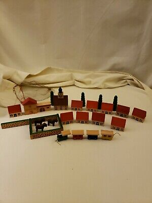Vintage Wood Putz Toys Village Houses Trees Horses Church Orig Mesh Bag Germany
