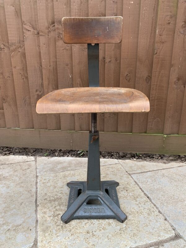 Antique Vintage Singer Industrial Swivel Chair Machinist Seat/Chair/Stool
