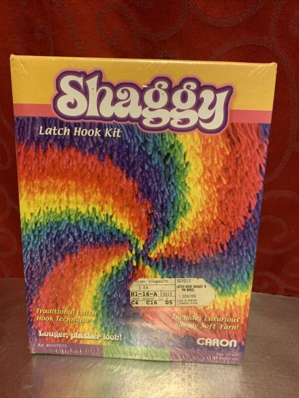 """NEW Vintage CARON Rainbow 12"""" x 12"""" SHAGGY LATCH HOOK KIT Hippy Tie Dye"""
