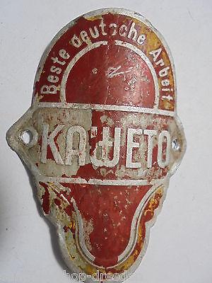 26768 Oldtimer Fahrrad Steuerkopfschild KAWETO beste deutsche Arbeit LAS 40mm
