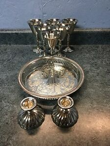 Silver Goblets, plate, candle holders