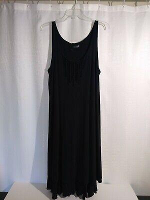 Preowned Eileen Fisher Women's Size Lg Black Silk Dress Sleeveless Lined Trim