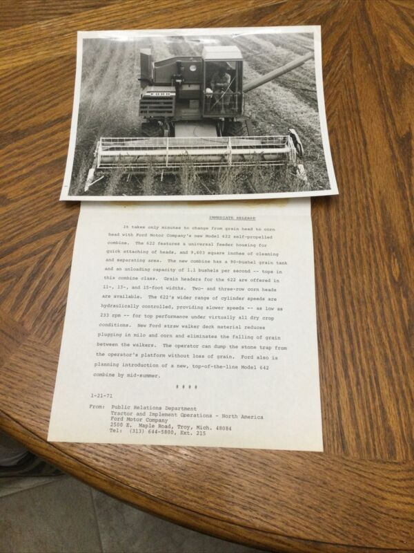 Ford 622 Combine Glossy Photo With Sales Letter Brochure Advertising