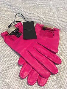 New with tag- TED BAKER leather gloves-Deep pink - S/M