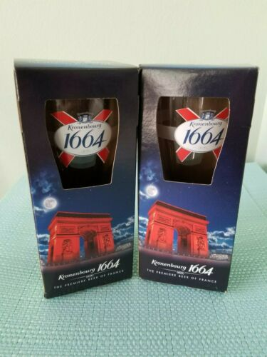 2 KRONENBOURG 1664  BEER GLASS  W/1664 EMBOSSED BOTTOM OF GLASS IN BOX.