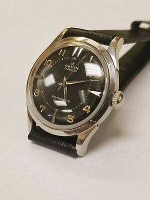 VINTAGE ORVIN AUTOMATIC MENS MILITARY ALL STAINLESS CASE RUNNING GOOD