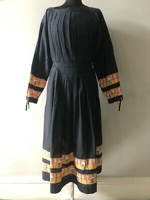 Vintage Black Indian Cotton Marina Ferrari Hippy Smock Style Folk Dress One Size