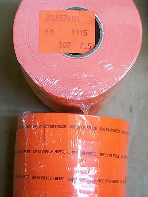 6 Roll Pkg Monarch Orange Use By Or Freeze Marking Gun Label Sticker Grocery