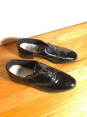 Women's American Apparel Black Patent Leather Lace Up Oxford Tap Shoe US 9 Black Leather Tap Oxford Shoes