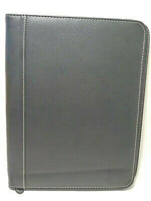 Folio Writing Letter Size Collection Pad Genuine Leather Black With Zipper