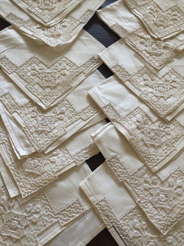 12 Antique Italian Ivory  Linen Napkins Handmade Needle Lace Trim