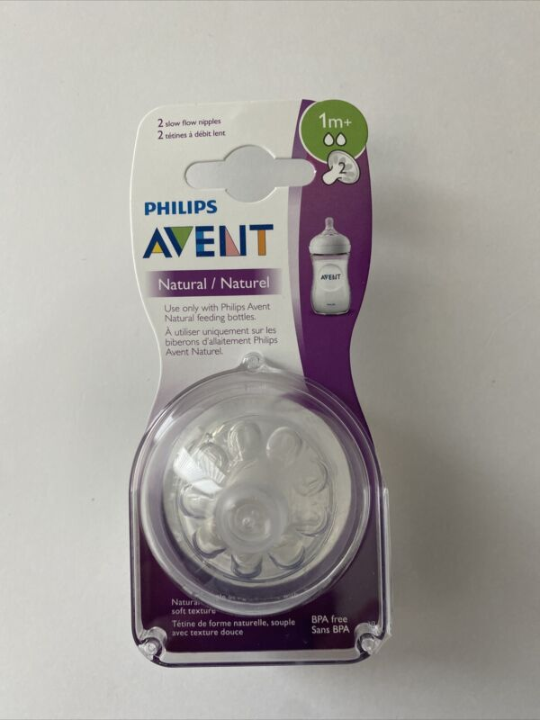Philips AVENT Natural Nipples Pack Of 2 Nipples 1m+ Slow Flow