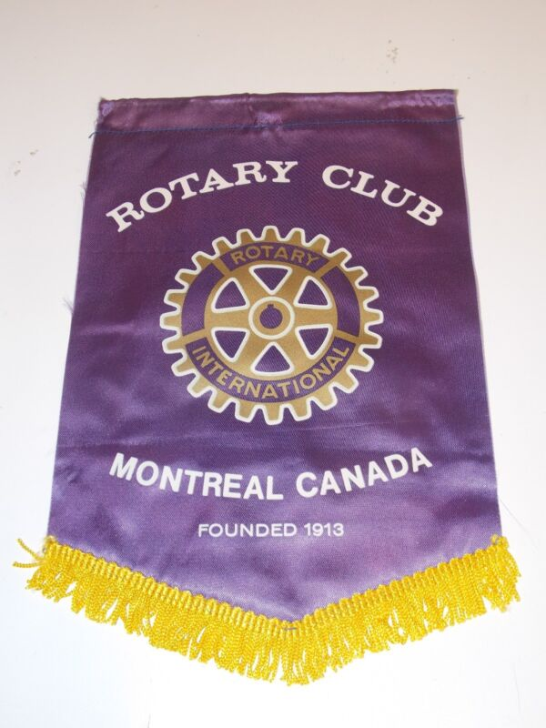 WOW Vintage Montreal CANADA Rotary International Club Banner Flag Rare