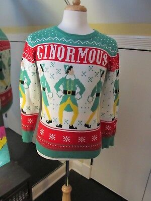 Elf Movie Men's GINORMOUS FERRELL  Christmas Sweater Size MENS SMALL MEDIUM