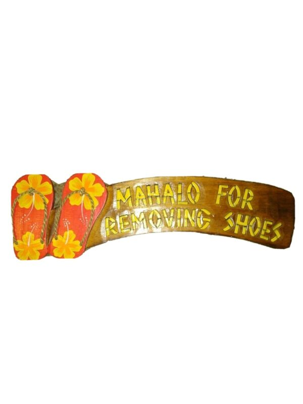 Hand Carved 3-D Painted Wood Sign Mahalo For Removing Shoes Red Flip Flops