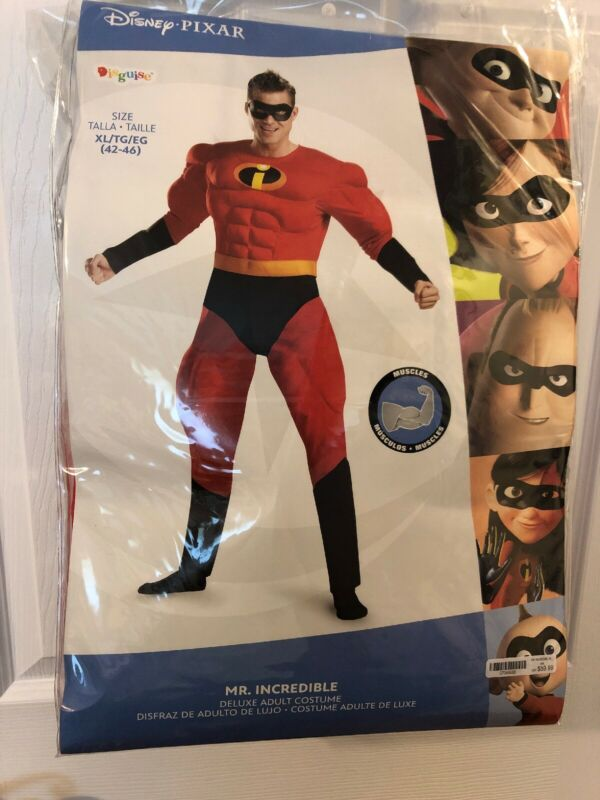 Disney Pixar Mr. Incredible Deluxe Adult Costume w/Muscles - XL