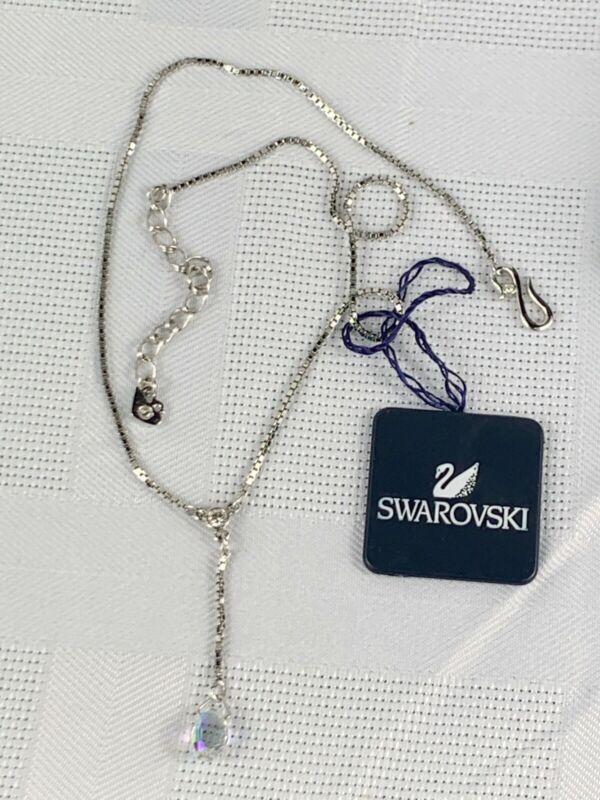 "Swarovsky Crystal Sterling Lariat Choker Y Necklace Adj 16-18"" NWT Box Card"