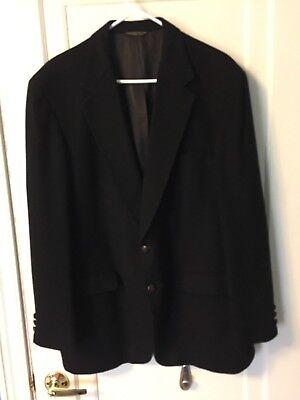 Diamonds Mens Shop John Weitz Tailor Black 100% Cashmere Suit Coat Blazer Sz 48