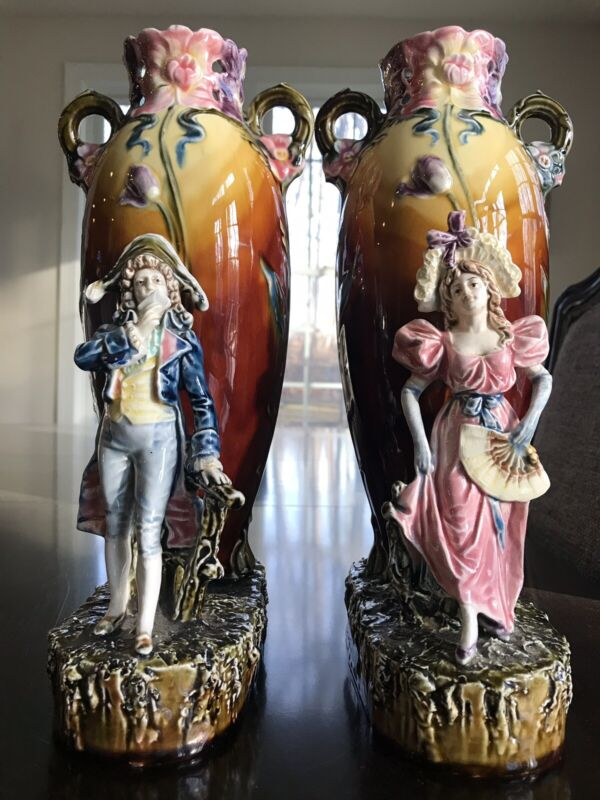 Pair of Antique Victorian Majolica Vases with Figures