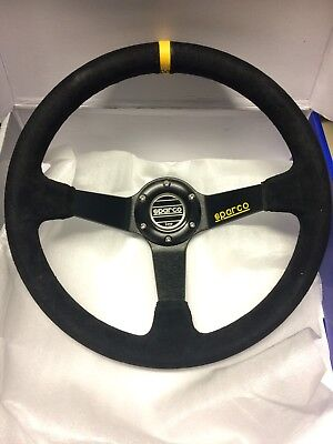 Universal Drifting Style 350mm Suede Deep Dish Steering Wheel Black Stitching