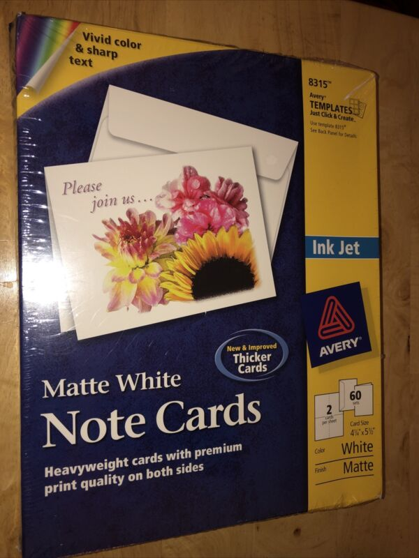 Avery Note Cards for Inkjet Printers 4 1/4 x 5 1/2 Matte White 60/Pack With Enve