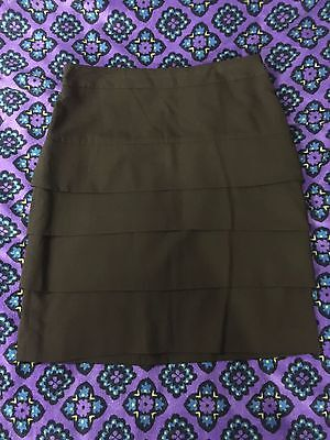 Larry Levine Stretch Size 4 Tiered Black Panel Skirt Business or Casual Attire