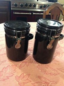 Two black jars