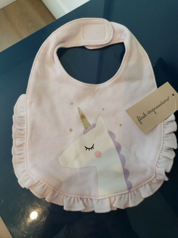FIRST IMPRESSIONS - Unicorn Stars Embroidered Baby Bib - ONE SIZE - reversible