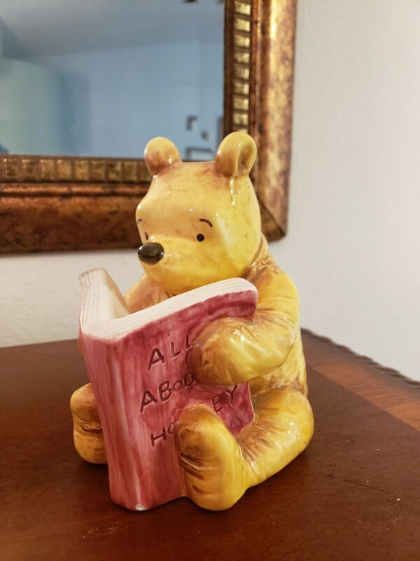 Classic Winnie the Pooh Ceramic Piggy Bank Reading Book about Honey Bookend